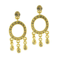Fashion Golden Tone Circle Three Rhinestone Dangle Earrings