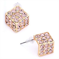 Pink Crystal Cz October Birthstone Golden Stud Earrings