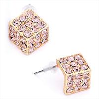 Pink Crystal Cz October Birthstone Golden Stud Earrings