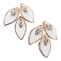 White Leafs With Clear White Crystal Cz Stud Earrings