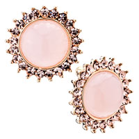 Fashion Pink Sunflower Crystal Cz Gemstone Stud Earrings