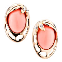 Hot Fashion Orange Oval Gemstone Golden Stud Earrings