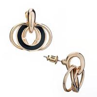 Small Fine Enamel Black Stud Earrings For Fashion Women