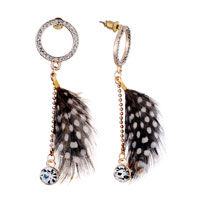 Fashion Brown White Spots Feather Dangle Crystal Cz Earrings