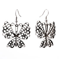 Silver Butterfly Drop Antique Dangle Fish Hook Earrings For Women