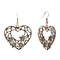 Heart Drop Blossoms Filigree Antique Dangle Fish Hook Earrings