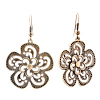 Flower Drop Filigree Vintage Dangle Fish Hook Earrings For Women
