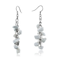 White Agate Chip Stone Earrings White Gemstone Nugget Chips Dangle Earring