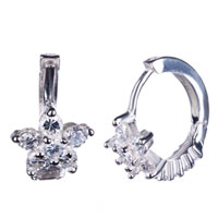 925 Sterling Silver Flower Clear White Crystal Cz Hoop Earrings