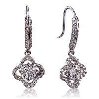 925 Sterling Silver White April Crystal Flower Dangle Earrings