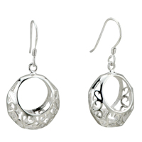 Silver Round Fancy Decorative Pattern Sterling Earring 925 Dangle