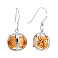November Yellow Ball Crystal Cz Dangle Sterling Silver Earring
