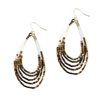 Glitter Tan Acrylic Beaded Pave Teardrop Dangle Earrings