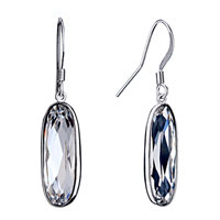 April Birthstone White Shinning Crystal Drop Fish Hook Earrings