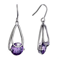 Elegant Ring Dangle February Birthstone Crystal Fish Hook Earrings