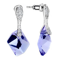 Beautiful February Birthstone Purple Crystal Dangle Earrings