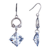 Elegant Ring Dangle April Birthstone Crystal Fish Hook Earrings