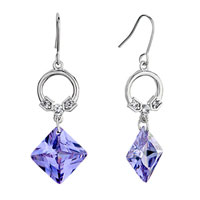 Ring Clear Swarovski Crystal Dangle Purple June Birthstone Light Amethyst Square Fish Hook Earrings