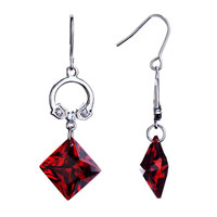Elegant Ring Dangle Red Square January Birthstone Crystal Fish Hook Earrings Gift