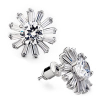 White Flower Cluster April Birthstonestud Earrings