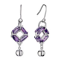 Amethyst Crystal February Birthstone Dangle Fish Hook Earrings Gift