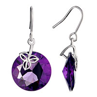 Amethyst Round Purple February Birthstone Swarovski Crystal Dangle Fish Hook Earrings Gift For Women