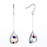 Thread Dangle Crystal Drop Fish Hook Earrings