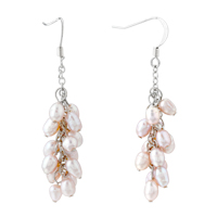Pink Pearl Drop Dangle Fish Hook Earrings