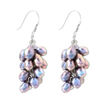 Purple Pearl Drop Dangle Fish Hook Earrings