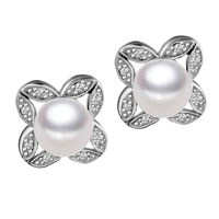 Sterling Silver Crystal Flower Shaped Stud Freshwater Pearl Earrings