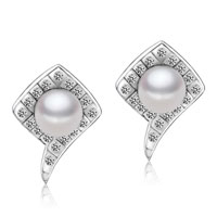 Sterling Silver Cz Crystal Framed White Shell Pearl Stud Earrings