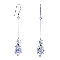 Flower April Crystal Dangle Fish Hook Earrings Floral