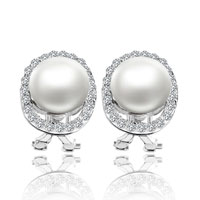 Cubic Zirconia Crystal Framed White Shell Freshwater Cultured Pearl Stud Earrings
