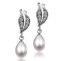 Sterling Silver Cubic Zirconia Crystal Leaf Dangling Dangle White Shell Freshwater Cultured Pearl Earrings