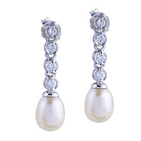 Sterling Silver Crystal Stick Drop Dangle Pearl Earrings