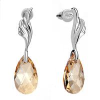 Elegant November Birthstone Topaz Crystal Dangle Earrings