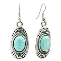 Retro Oval Turquoise Dangle Fish Hook Earrings Gift