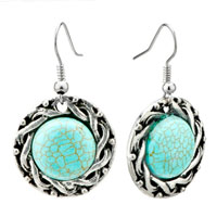 Fashion Silver P Round Turquoise Dangle Fish Hook Earrings Women