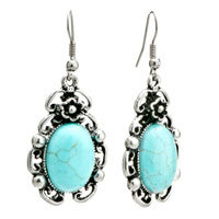 Retro Flower Oval Turquoise Dangle Fish Hook Silver Plated Earrings