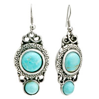 Retro Round Turquoise Dangle Fish Hook Silver Plated Glam Earrings