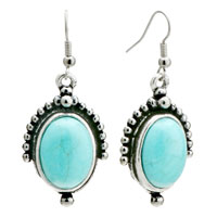 Retro Oval Turquoise Dangle Fish Hook Silver Plated Earrings Women
