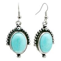 Retro Oval Turquoise Dangle Fish Hook Silver Plated Earrings Women