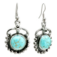 Retro Turquoise Dangle Holiday Fish Hook Silver Plated Earrings