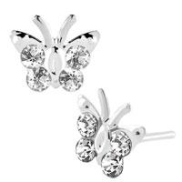 Diomand Earrings Clear White Gemstone Butterfly Stud Earrings