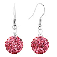 Shamballa Ball Bead Fish Hook Dangle Earrings Pink Swarovski Elements Earrings