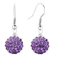 Shamballa Ball Bead Fish Hook Dangle Earrings Purple Swarovski Elements Earrings