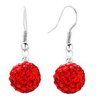 Shamballa Ball Bead Fish Hook Dangle Earrings Red Swarovski Elements Earrings