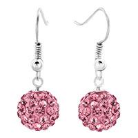 Shamballa Ball Bead Fish Hook Dangle Earrings Pink Swarovski Elements Earrings