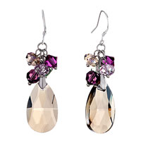 Purple Cluster Crystal Dangle Topaz Swarovski Drop November Birthstone Love Fish Hook Earrings