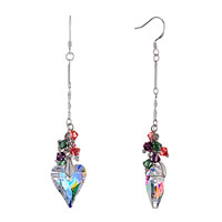 Colorful Crystal Cluster Dangle Clear Swarovski Heart April Birthstone Love Fish Hook Earrings